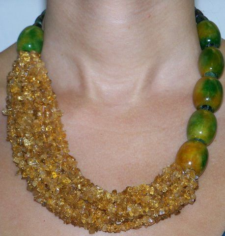 Unique 14k gold citrine ships and green-yellow jade necklace with. 14k gold clasp. 18'