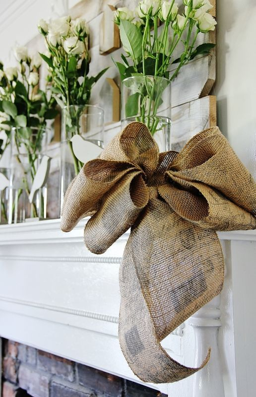How To Make A Burlap Bow Burlap Bows Fireplaces And Flower