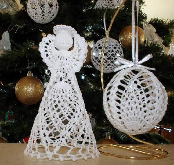 Christmas Pineapple Angel and Ball by mytreasuredheirlooms on Etsy (Craft Supplies & Tools, Patterns & Tutorials, Fiber Arts, Crochet, crochet pattern, angel ornament, ball ornament, thread crochet, crochet cotton, christmas ornament, holiday decoration, tree, pineapple crochet, stiffened)