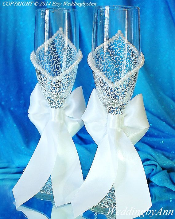 Bride and Groom Champagne glasses Bridal shower by WeddingbyAnn