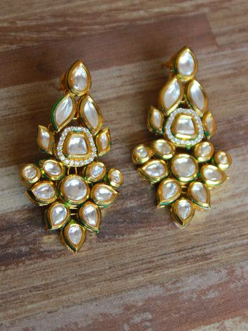 Traditional Long Kundan Earings – Sweta Sutariya