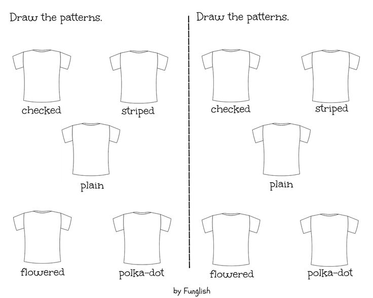 clothes, patterns, adjectives, exercise, worksheet