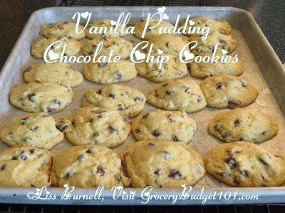 Vanilla Pudding Chocolate Chip Cookies- This is one of my favorite quickie cookie recipes and it's rather versatile. If you want a Double Chocolate Chip cookie, use chocolate pudding mix instead of Vanilla. If you'd like a Banana Nut Cookie, use a small package of Banana instant pudding mix and add 1 cup of finely chopped walnuts. These cookies are very soft and chewy with lots of flavor. (Click on photo for recipe)
