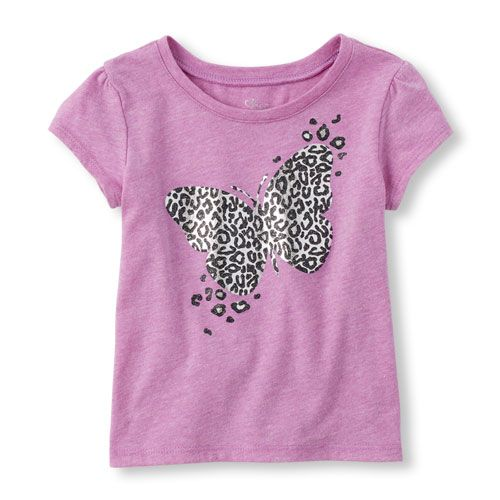 Baby Girls Toddler Short Sleeve Leopard Print Butterfly Glitter Graphic Tee - Purple T-Shirt - The Children's Place