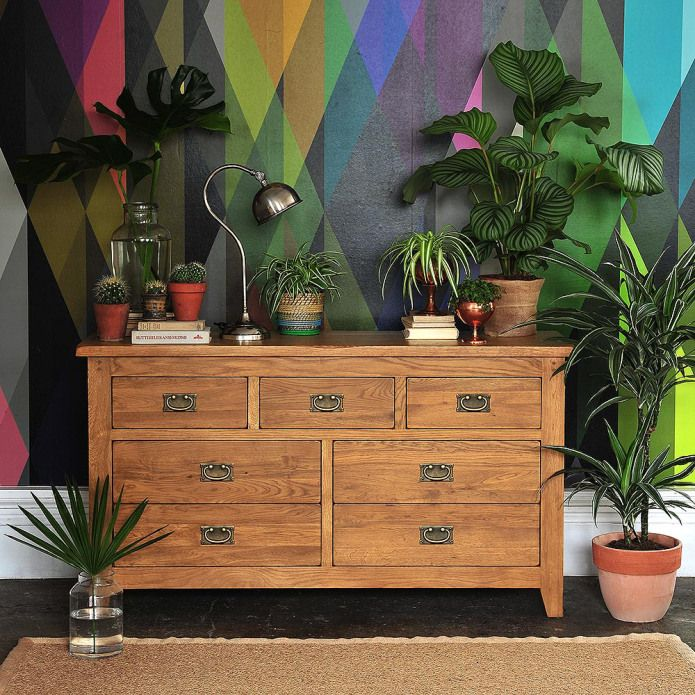 Click through to read the full article or Pin to save for later. Oakland Chest of Drawers, Oak Chest, Bedroom Chest, Oak Sideboard, House plants, Outdoors in, Urban Jungle, Colourful wall, Graphic Wallpaper.