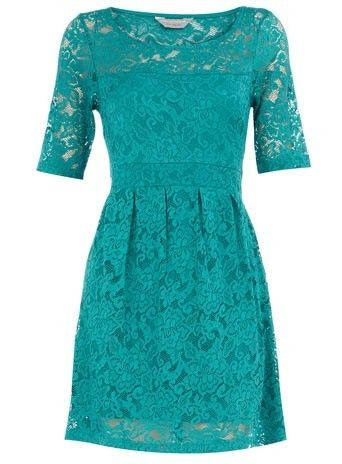Turquoise Lace Dress.  I wish this was long enough to be work appropriate on me!