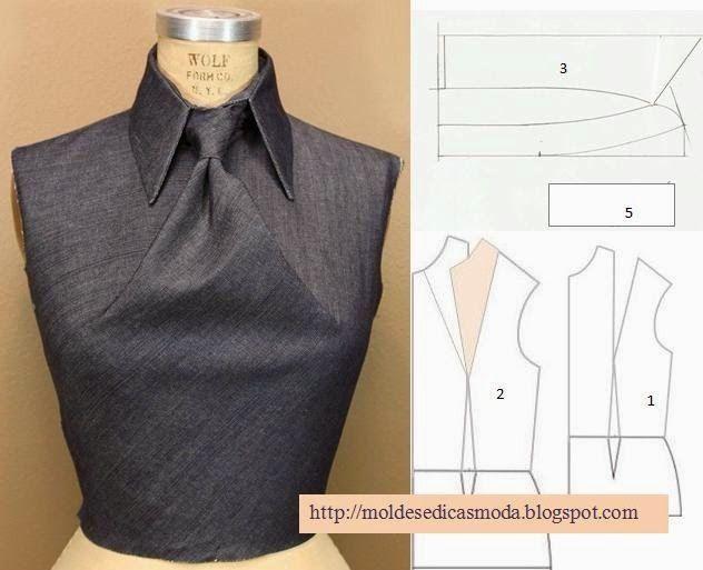 DETALHE DE MODELAÇÃO FRENTE DE BLUSA. Faça a rotação da pinça do ombro, para o meio frente. Desenhe o pé de gola, incluindo o valor da pinça. Desenhe o col