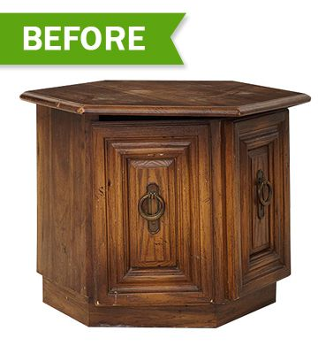 Furniture Makeovers  I can't tell you how many variations of this end table I have seen..and for under five dollars!  I would rather re make a peice of furniture, than buy it new!!
