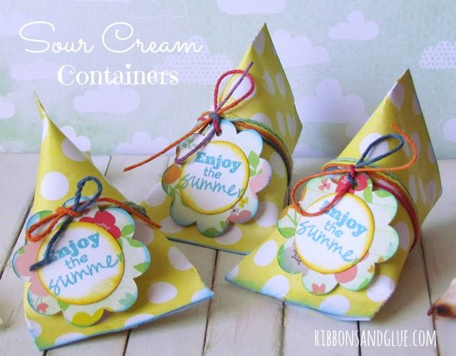 How to make Sour Cream Containers.  {ribbonsandglue.com}
