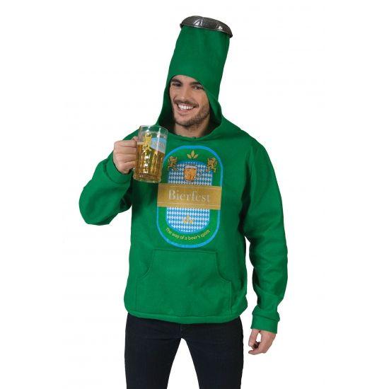 Groene bierfles trui. Groene trui met capuchon in de vorm van een bierfles met dop. Met de tekst bierfest erop. De trui is one size en past tot maat L.