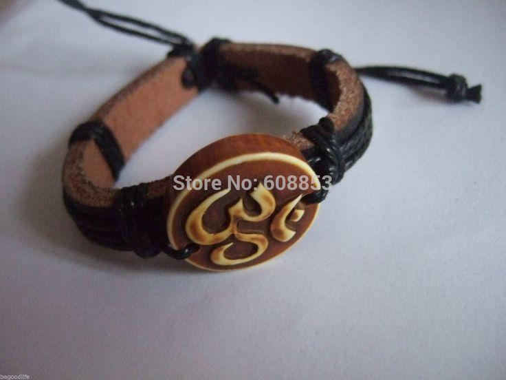 1pcs Black Leather Wristband OM OHM AUM YOGA HINDI OMKARA SYMBOL Bracelet