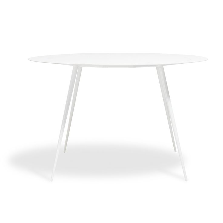a wide ergonomic top is bolstered by slender steel legs that are finished in a white round dining energy - Modern Round Dining Table