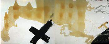 Díptic de vernís, 1984 Díptico de barniz Pintura y barniz sobre tela  220 x 542 cm