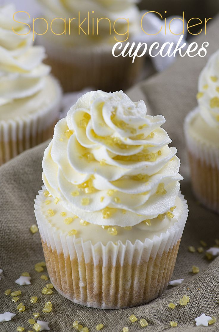 Sparkling Cider Cupcakes - the perfect dessert for any party but especially for New Years Eve!!
