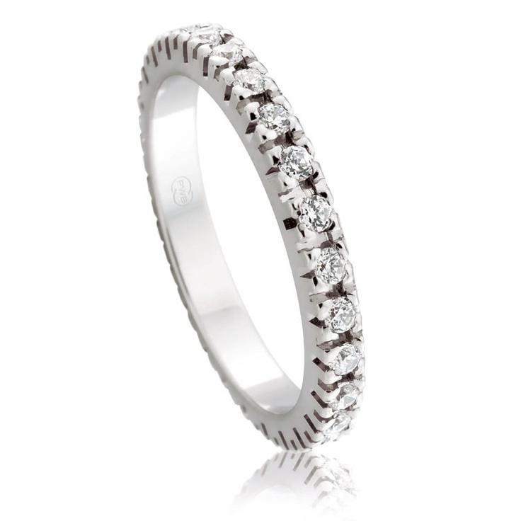White Gold Full Hoop Claw Set Diamond Wedding Ring  $3400