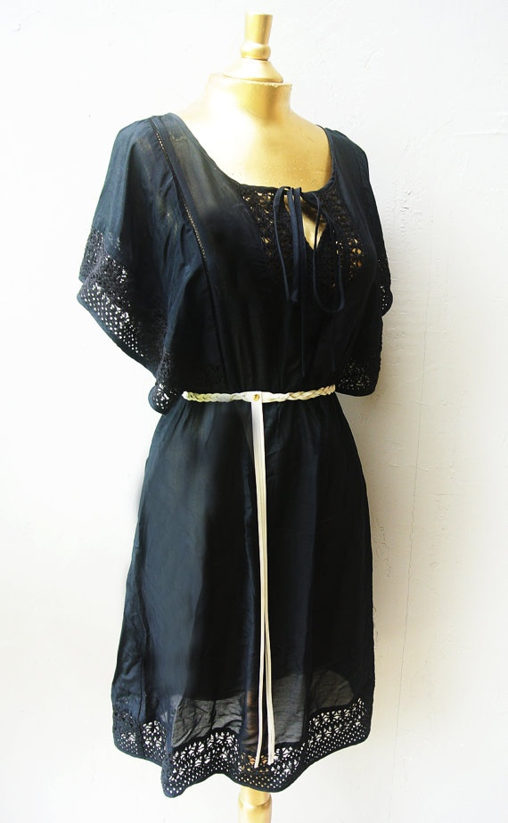 black sundress / lace accent bat wing cinch by FiregypsyVintage, $38.52