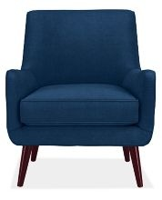 Quinn chair from Room and Board in Vance Indigo ... I bought this in Chicago when I was in my blue phase ...may need to change out the upholstery or i might be just the right amount of color for my otherwise neutral apartment