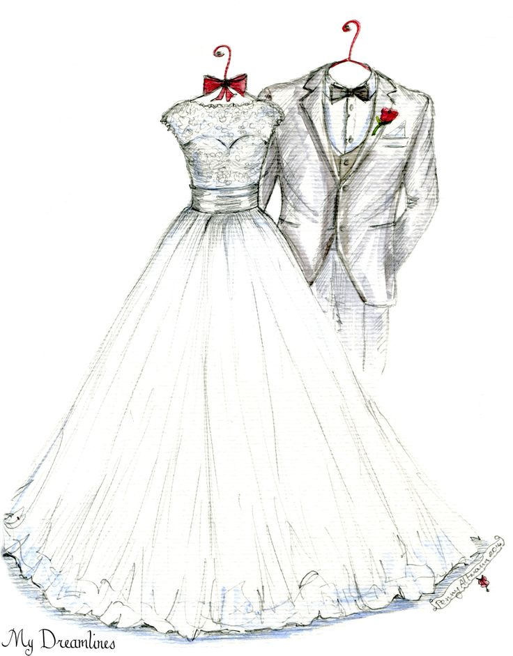 My Dreamlines Wedding Dress Sketch - Christmas gift, anniversary gift, wedding gift, wedding gift from the groom to the bride. http://www.mydreamlines.com/