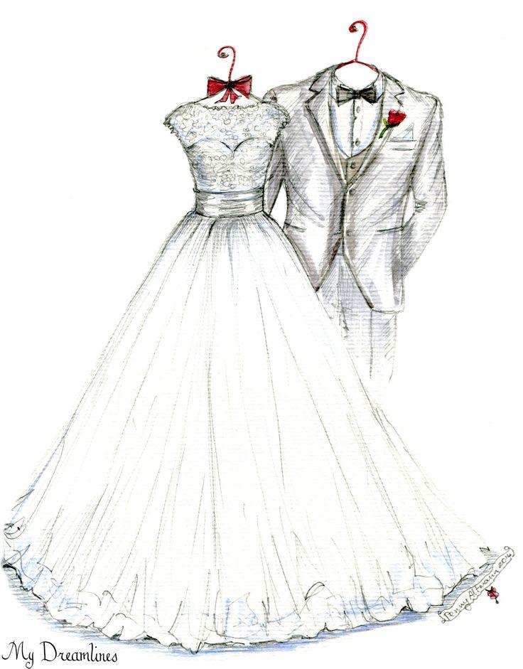 My Dreamlines Wedding Dress Sketch - Christmas gift, anniversary gift, wedding gift, wedding gift from the groom to the bride. http://www.mydreamlines.com/