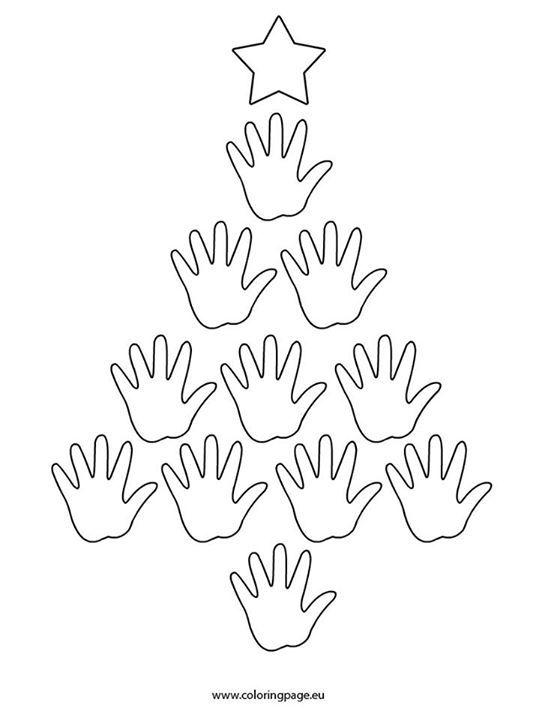 árvore de natal com as mãos