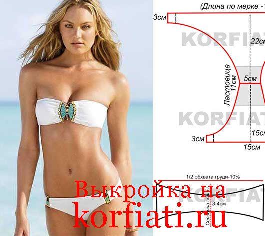 See the completed free pattern at page itsel - Kfк сшить купальник для пляжа - модель:
