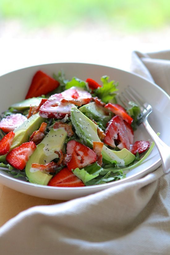 Strawberry Avocado Kale Salad with Bacon Poppyseed Dressing -- sub out sugar with Splenda!!