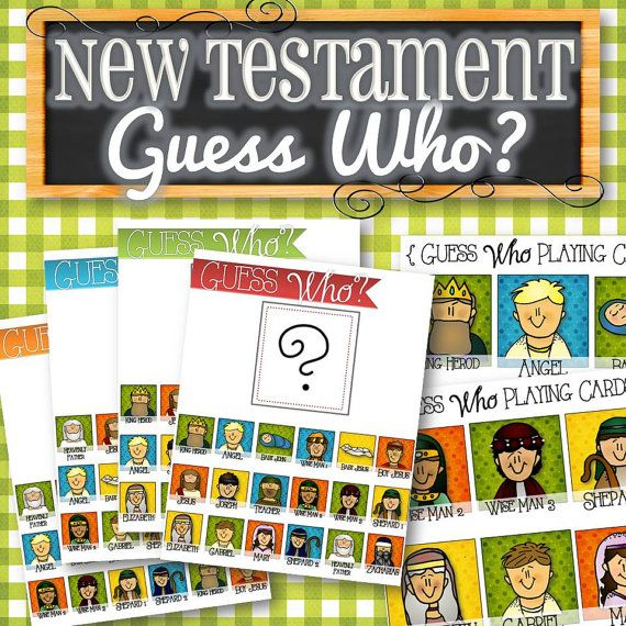 "Awesome ""Guess Who?"" game for the New Testament! A fun and entertaining ""Guess Who Game"" using characters from the Bible! Perfect for Sundays, during General Conference, or FHE to teach children characters from the New Testament. Simply print and play! Includes 4 unique game boards, 18 character cards, and instructions for play. Awesome Sundays and lessons, here we come!"