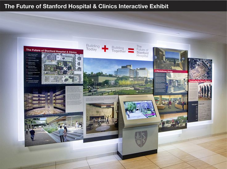STANFORD HOSPITAL  Interactive information kiosk exhibit, updated throughout the duration of new hospital construction.