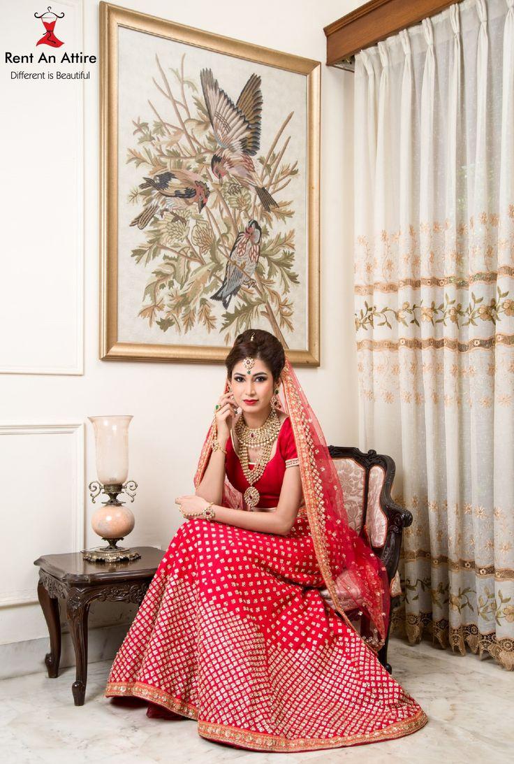 #UrbanDesiBride #NewCollectionAlert Red Bridal Lehenga adorned with intricate Golden Butti work. Our Bridal Lehenga & Jewellery collection for the season would make any girl swoon.. <3 Model: Zoya Patel MUA: Saba poonawala Hair & Make-up Artist Photographer: Allan SD #Bridal #Designerwear #RedLehenga #Gold #Embroidery #IndianFashion #RentAnAttire #TryitBookitFlauntit #HappyRenting #Differentisbeautiful #Punebloggers #Pune #Wedmegood
