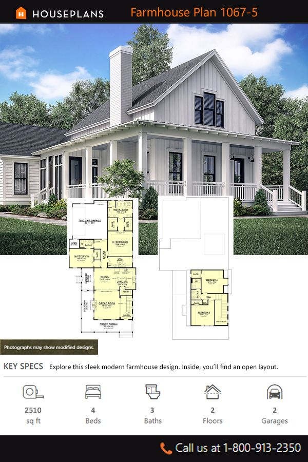 Farmhouse Style House Plan 4 Beds 3 Baths 2510 Sq Ft Plan 1067 5 In 2020 Farmhouse Style House Farmhouse Style House Plans House Plans Farmhouse