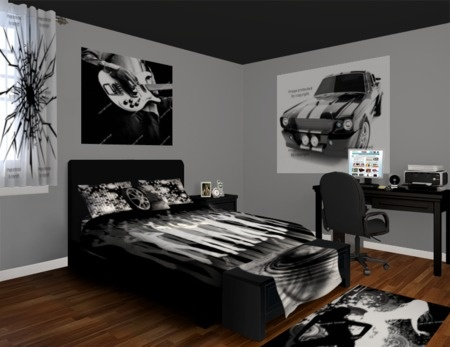 Showcasing A Black And White Bold Bedroom Style Featuring A Classic Cars  And Rock And Roll