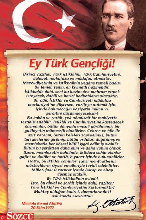 Büyük boy Atatürk fotoğrafı ve Atatürk'ün Gençliğe Hitabesi 19 Mayıs'ta gazeteniz Sözcü'yle bedava...