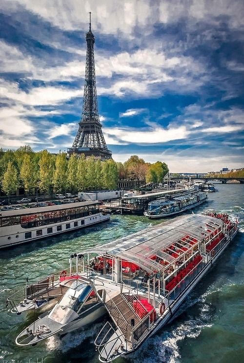 Paris, France  Beautiful cruise on the Seine with the Eiffel Tower in background
