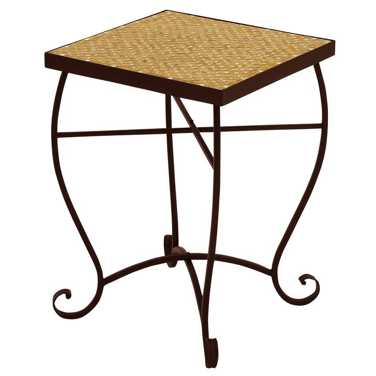 Enterprises Moroccan Mosaic Square Side Accent Table, Patio Furniture