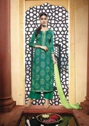 Sizzling Green Color Unstitched Cotton Satin Fabric Printed Straight Suit