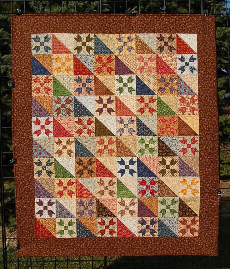 """Patchwork quilt for sale, """"Lilies"""" is a multi-colored Quilt made with Civil War Reproduction Fabrics/Lap Quilt/Traditional Quilt/Wall Quilt by MyCottonandThread on Etsy"""