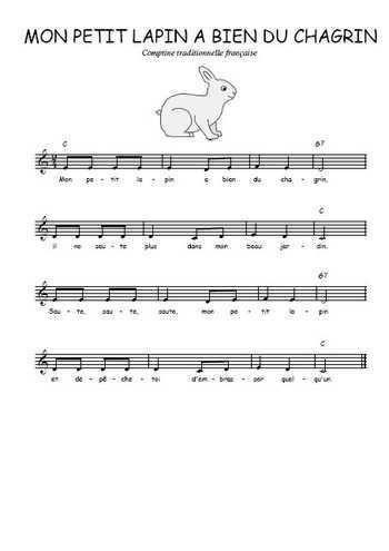 Téléchargez la partition gratuite de la chanson Mon petit lapin a bien du chagrin, Chanson traditionnelle française avec accords de guitare. Chanson traditionnelle