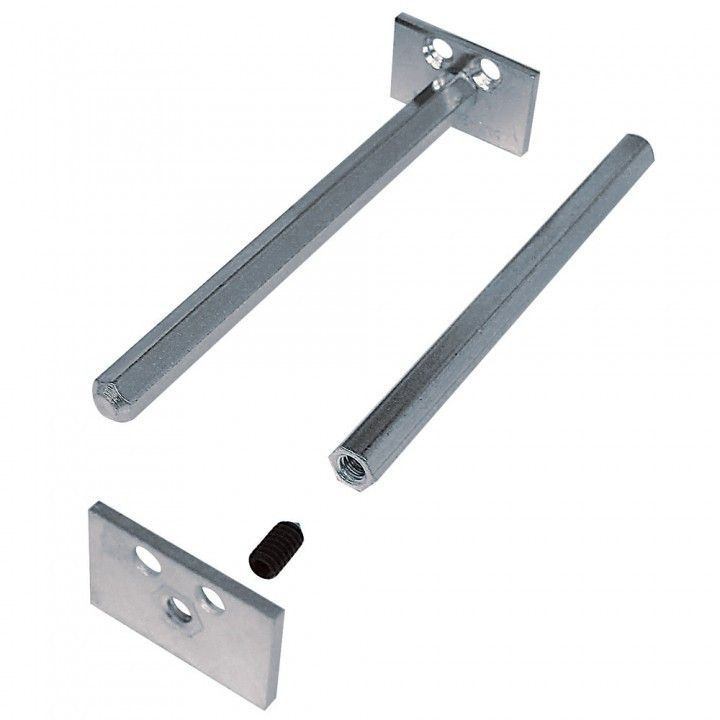 Floating shelf hardware. Simply bore the holes into the back of your shelf and slide it onto the supports!