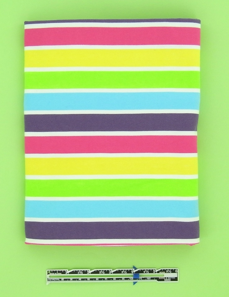 Bright Stripes cotton elastane single jersey, 1 m. €23.00, via Etsy.