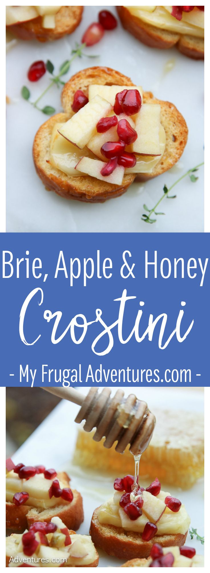 Brie, Apple and Honey Crostini- simple and delicious appetizer