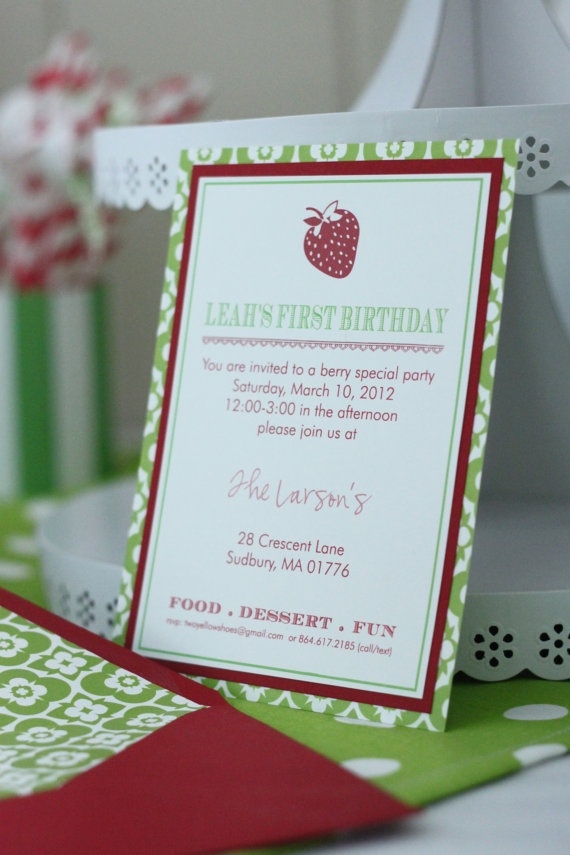 wording ideas forst birthday party invitation%0A Find this Pin and more on Strawberry Birthday Party