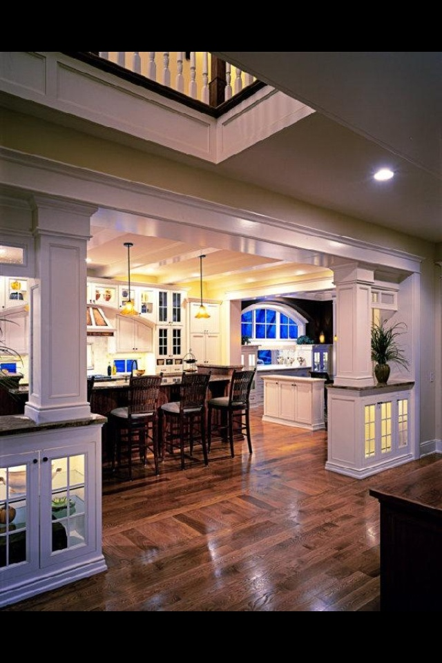 open kitchen living room floor plan pictures%0A Love the how this separates the   rooms  but still leave them open to each  other Dining room  living room  kitchen Open floor plan house