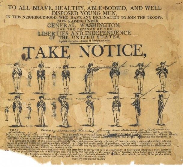Broadside Soliciting Recruits, 1775