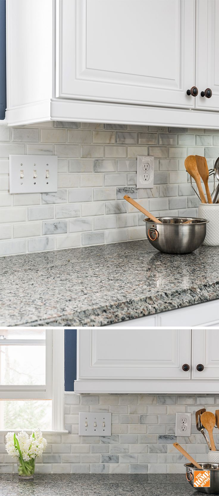 create an elegant statement with a white brick wall home depot kitchenkitchen back splashesmarble subway tilesbacksplash