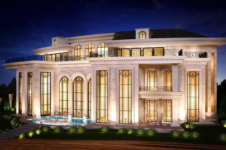 Private palm villa dubai elevation pinterest palm for Private villa design