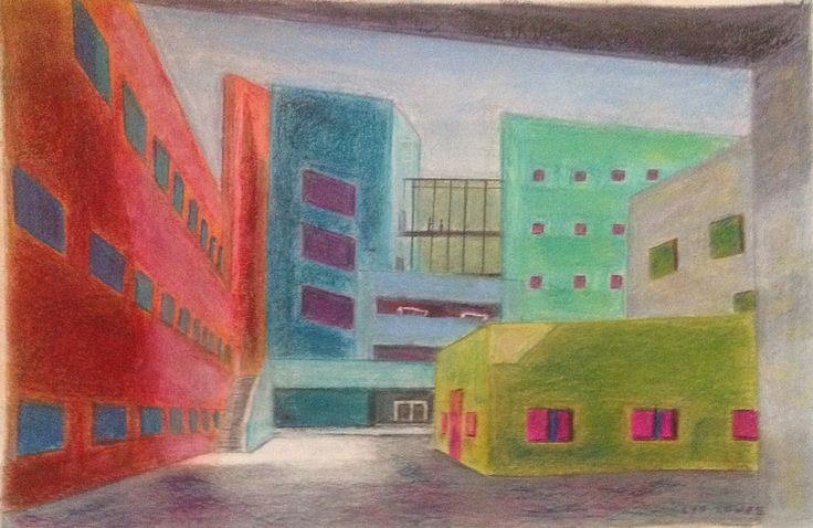 City buildings by Lyn Lowes Pastel pencils/pastels on paper
