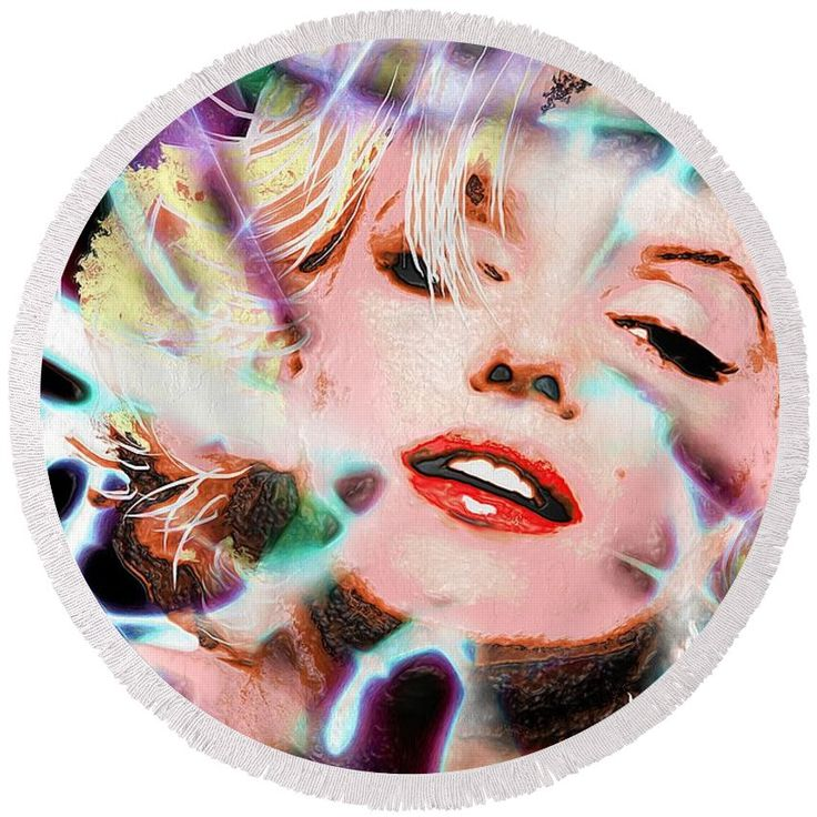 Marilyn Monroe Plastic Round Beach Towel featuring the painting Marilyn Monroe Plastic by Daniel Janda