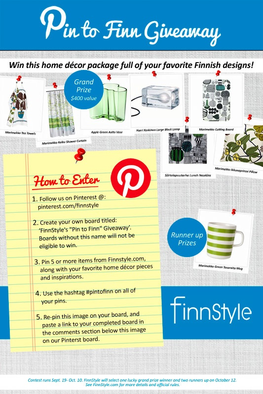 "FinnStyle ""Pin to Fin"" Giveaway, Sept 19- Oct 10 -- Pin your favorite FinnStyle pieces and other home decor inspirations when you #pintofinn; http://www.finnstyle.com/pinterest-pin-to-finn-giveaway.html"