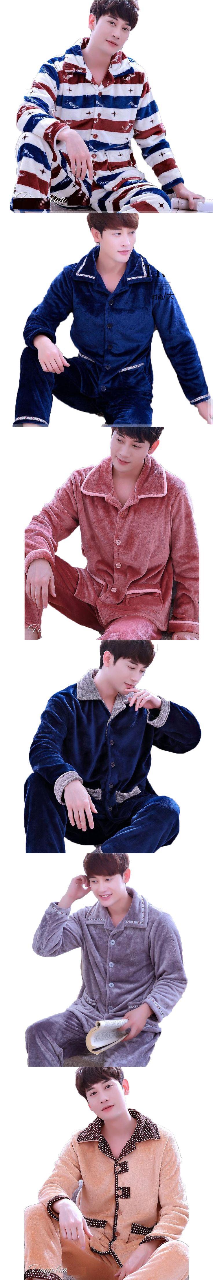 Winter Mens Flannel Pajamas Set Pijama Hombre Long Sleeve Cardigans Warm Coral Velvet Pyjamas Suits Male Sleepwear Lounge Wear