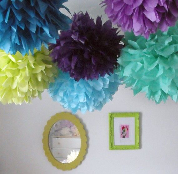 Peacock party  40 Tissue paper pompoms  peacock party by pomtree, $120.00